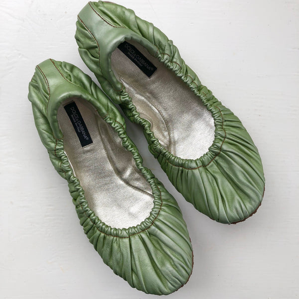 Dolce & Gabbana Green Gathered Leather Ballet
