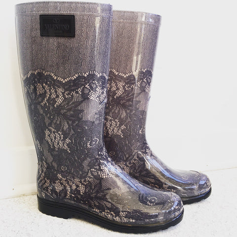 RED Valentino Lace Gray Rain Boots