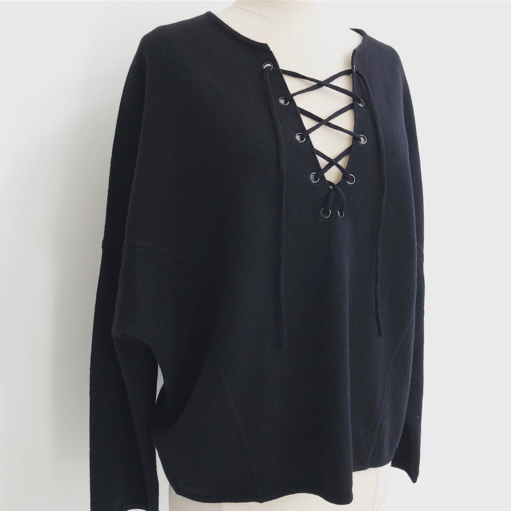 Vince Lace Up Black Sweater