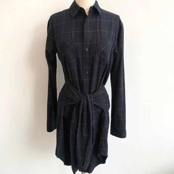 Current Elliot Plaid Navy Dress