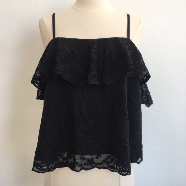 Joie NWT Ruffle Lace Black Top