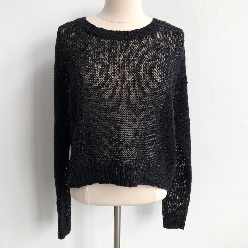All Saints Black Woven Sweater