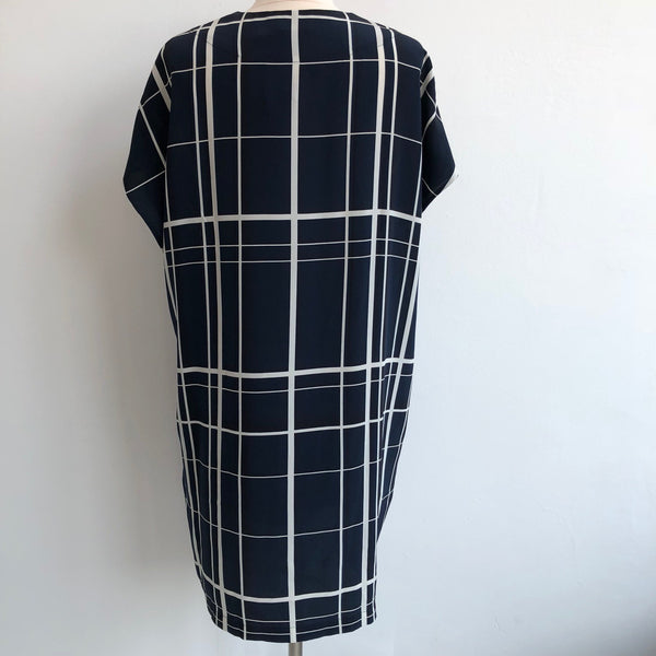 Vince Windowpane Navy Silk Shift
