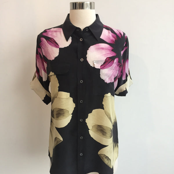 Equipment Black Floral Short Sleeve