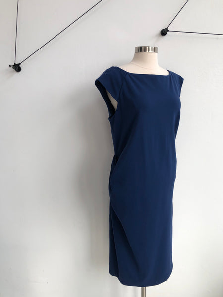 DVF Navy Ruched Dress