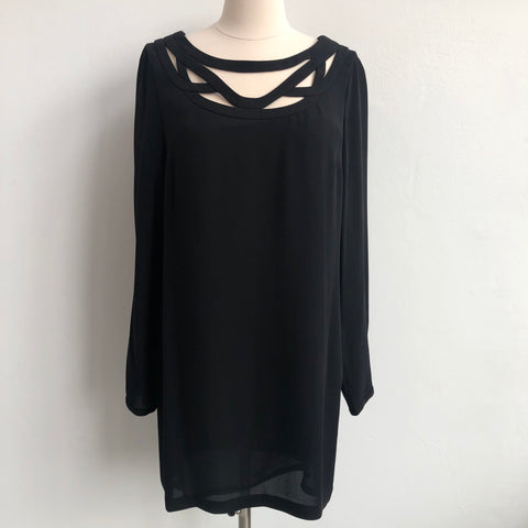 DVF Cutout Neck Black Shift