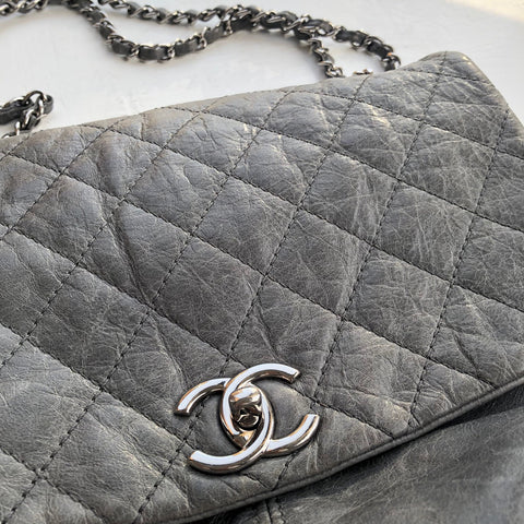 CHANEL 2013 Distressed Gray Gunmetal Flap