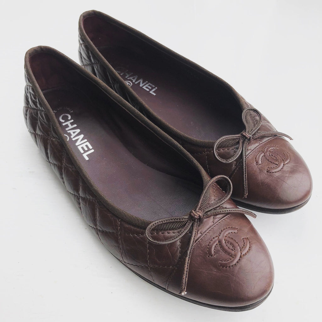 CHANEL Brown Quilted Ballet Flats