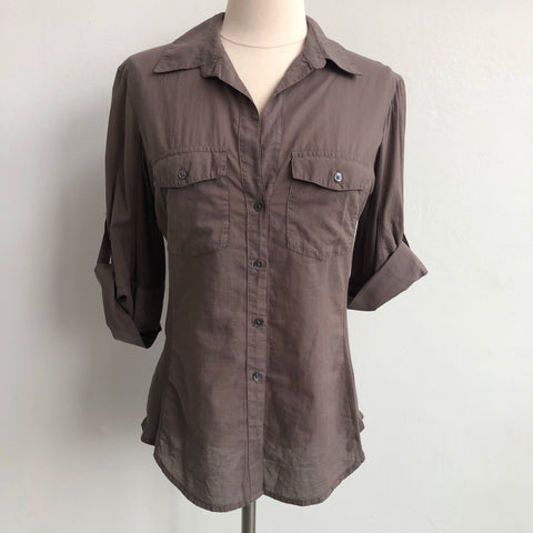 James Peres Grey Button Up Blouse
