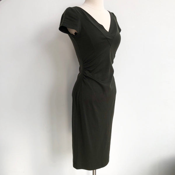 DVF Green Wool Ruched Dress