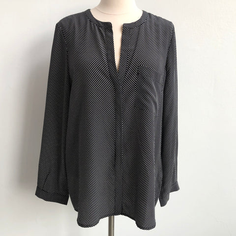 Joie Black White V Blouse