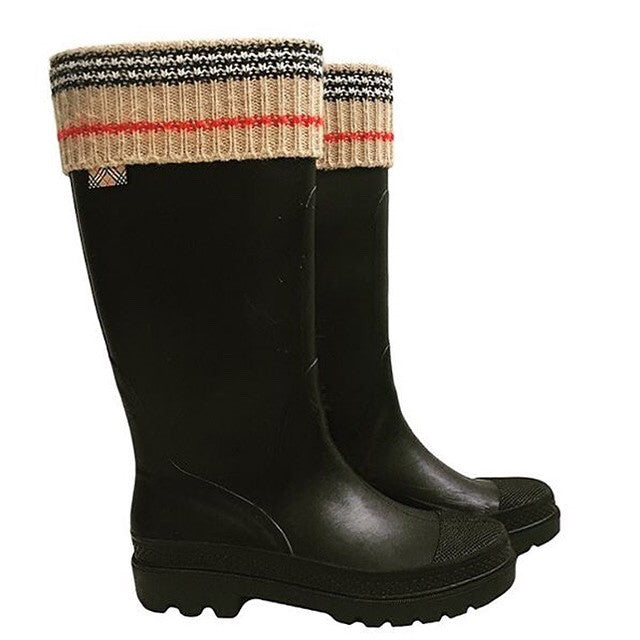 Burberry Rain Boots with Knit Trim