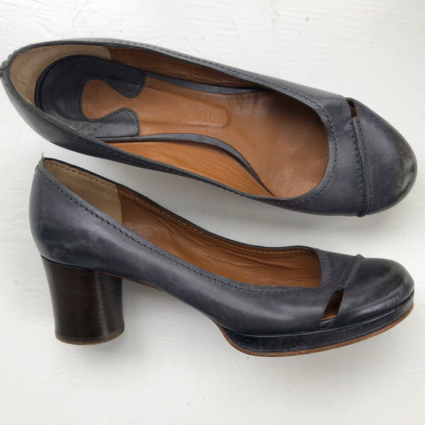 Chloe Navy Distressed Block Pumps