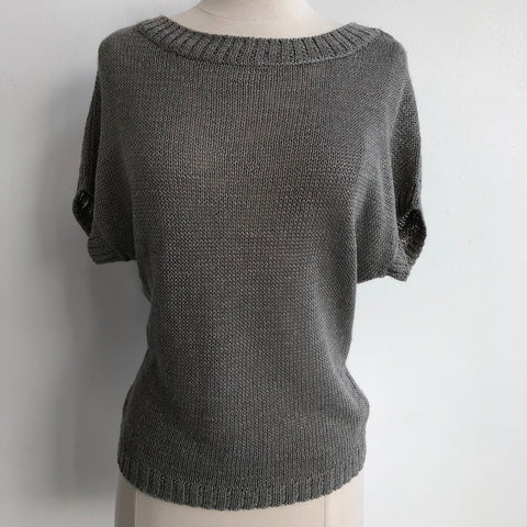 360 Sweater Gray Open Weave Short Sleeve