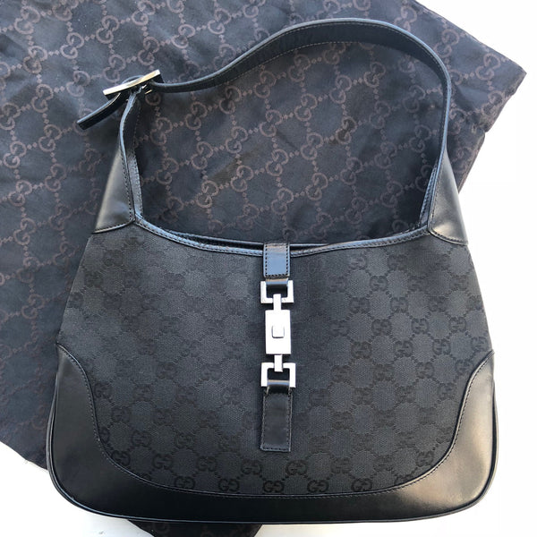 Gucci Black logo canvas Jackie w/dustbag