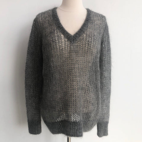 360 Cashmere Gray Mohair Sweater