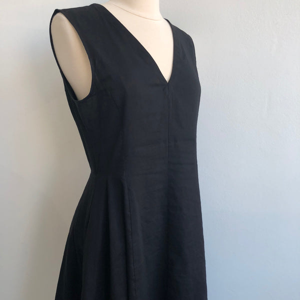 Theory Black Linen Flare Dress