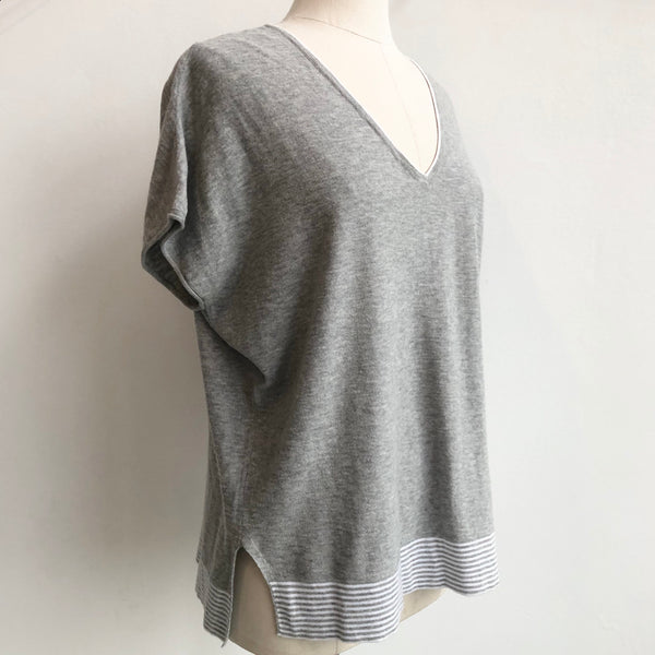 Vince Gray Striped Sweater Tee
