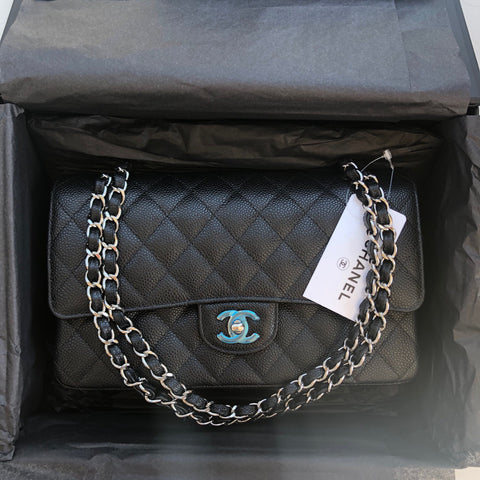 CHANEL Double Flap Caviar | Medium / Silver