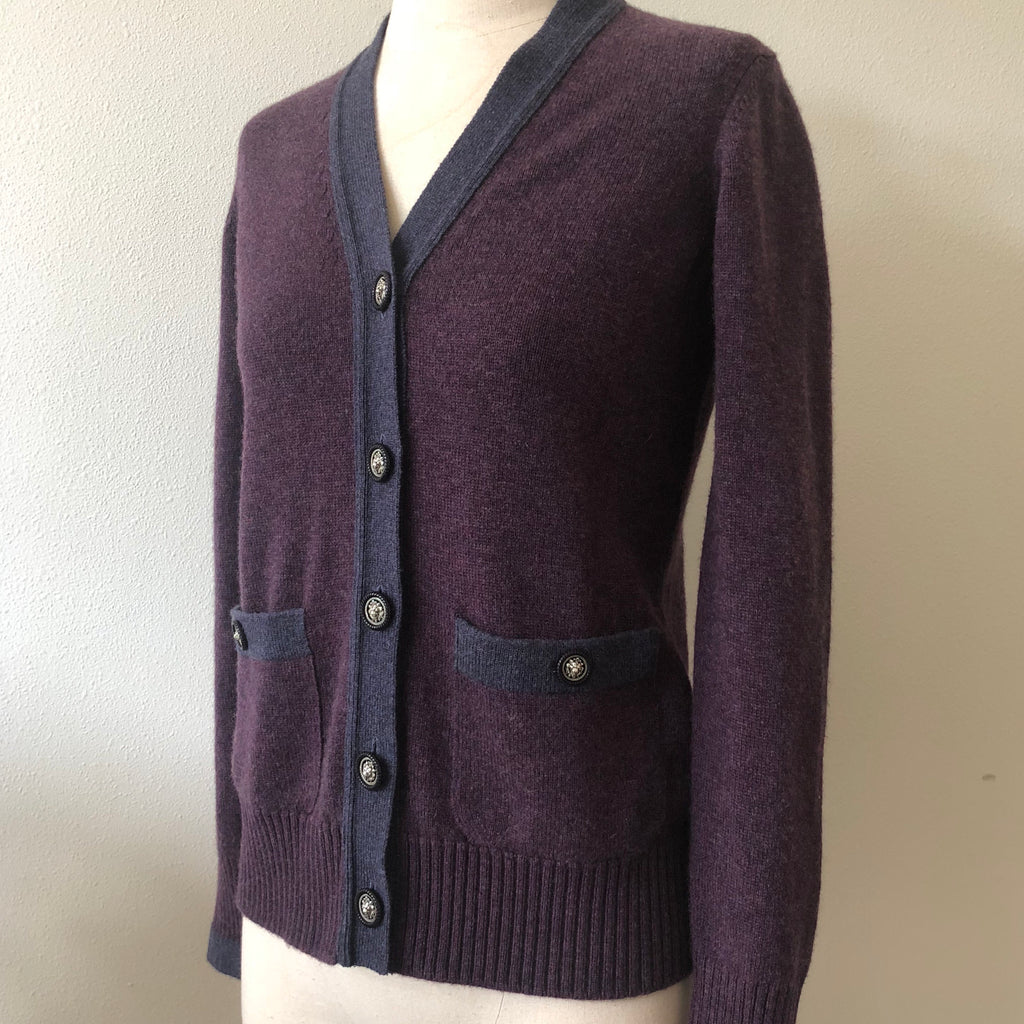 CHANEL Purple Cashmere Button Cardi