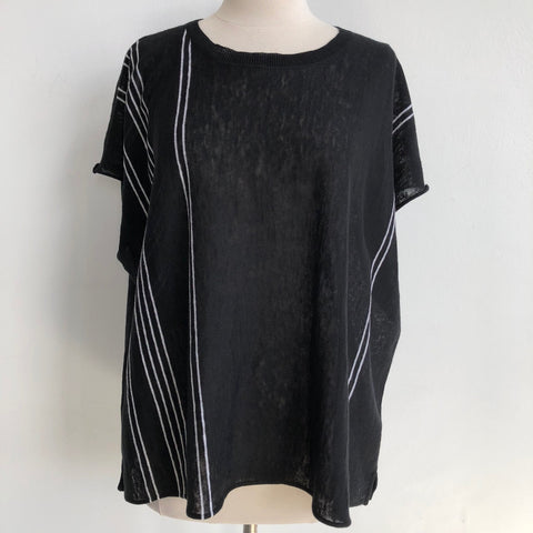 360 Sweater Black White Poncho