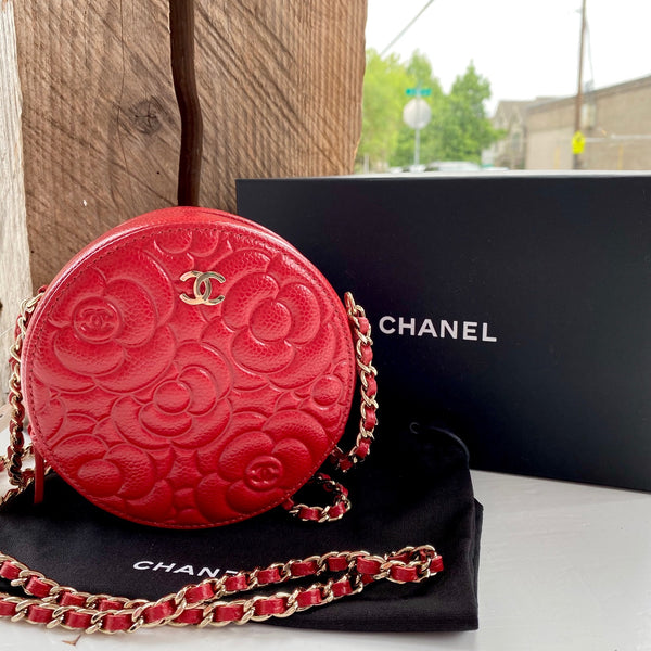 Camellia Quilted Round Clutch With Chain - Red
