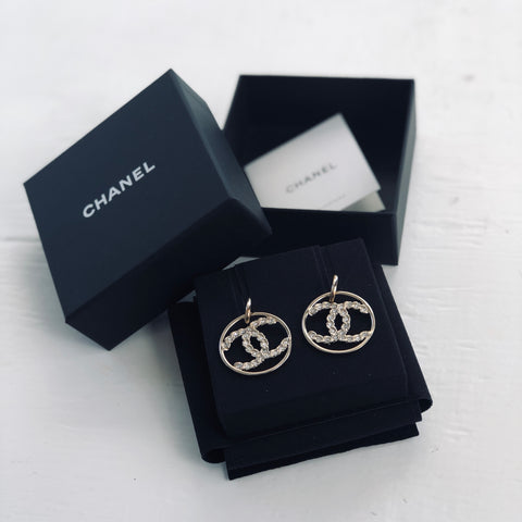 Chanel Gold Crystal Embelished CC Earrings