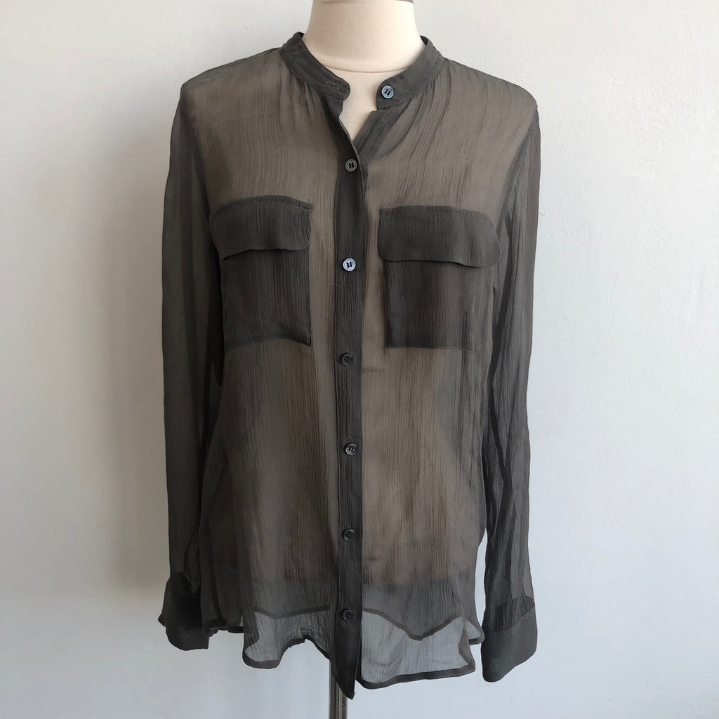 Equipment Green Sheer Blouse