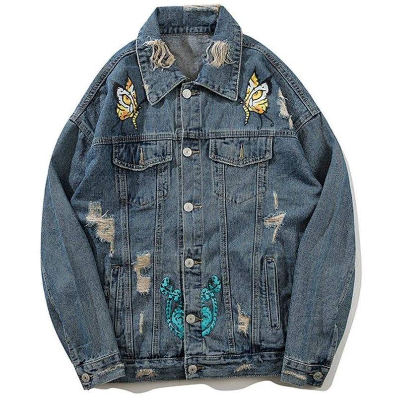 TIGER SWALLOWTAIL BUTTERFLY DENIM JACKET - Raiment NYC