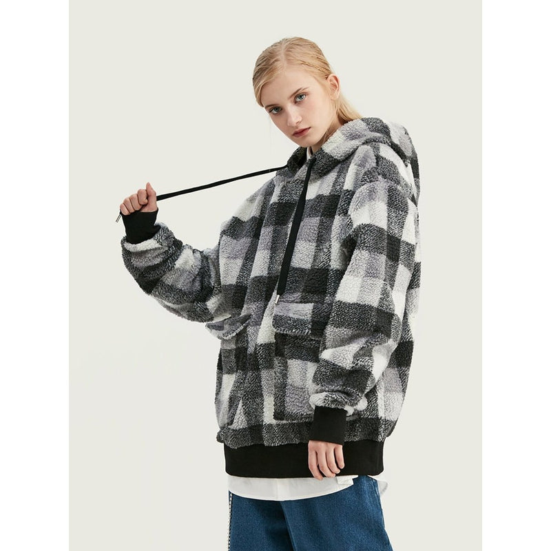 PLAID PLUSH HOODIE - Raiment NYC