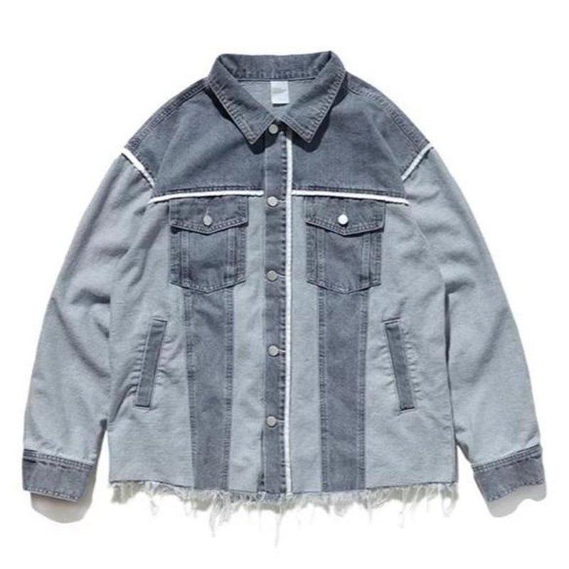 TWO TONE DISTRESSED DENIM JACKET - Raiment NYC