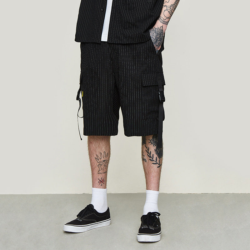 BUCKLED PINSTRIPE SHORTS