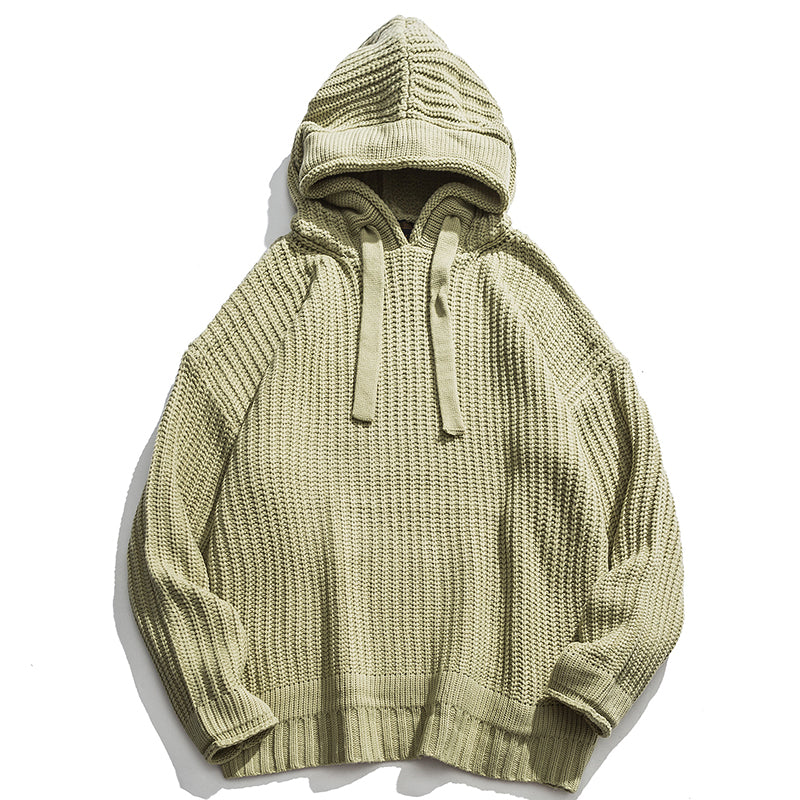 WAFFLE STITCH HOODED SWEATER