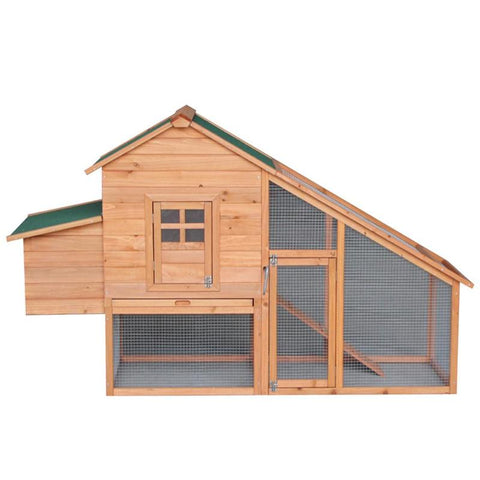 "75"" Wooden Chicken Coop, Indoor/Outdoor Use, Backyard Garden Wood House for (4-6 hens) Hutch w/Run"