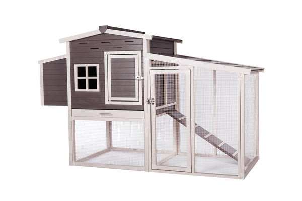New Age Hampton Chicken Barn with Pen for 4 to 6 hens (Gray/Antique White)