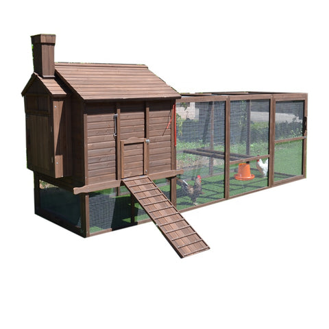 The Smoky Log Cabin - Covered Run and Nesting Boxes (Up to 10 hens)