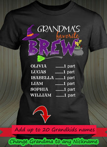 Grandma's Favorite Brew Personalized T-shirts Hoodie Sweatshirts