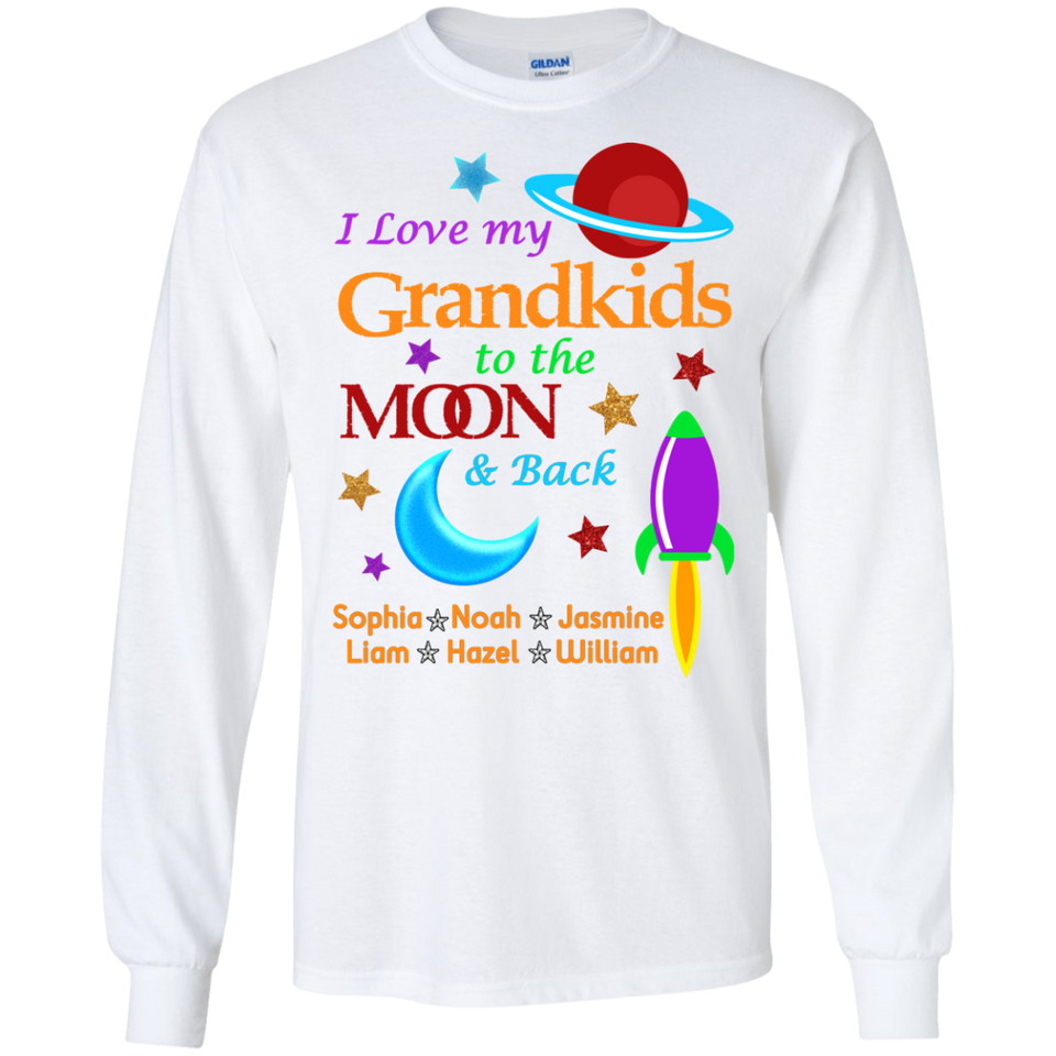 Love My Grandkids to Moon and Back Personalized T-shirts Hoodie Sweatshirts