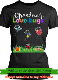 Grandma Love Bugs Personalized T-shirts Hoodie Sweatshirts