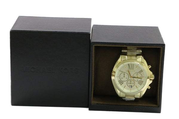 Michael Kors Mid-Size Golden Stainless Steel and Acetate Bradshaw Chronograph