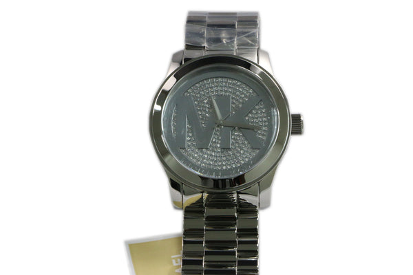 Michael Kors Runway Ladies Pave Swarovski Dial Silver Watch