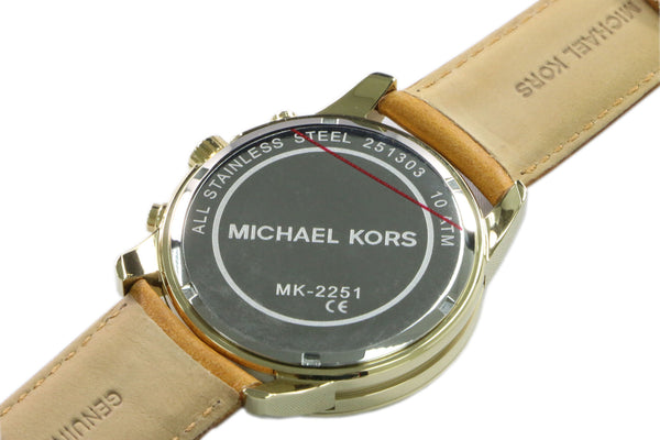 Michael Kors Brown Leather Strap Gold Steel Case Womens Ladies Watch