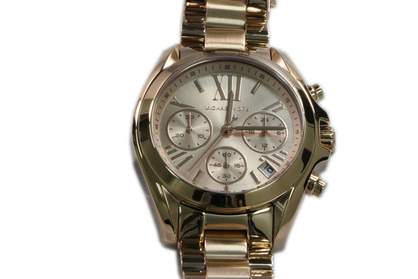Michael Kors Bradshaw Chronograph Rose Dial Rose Gold-tone Ladies