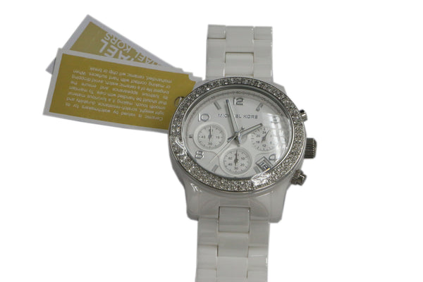 Michael Kors White Ceramic Chronograph Crystal Glitz Watch