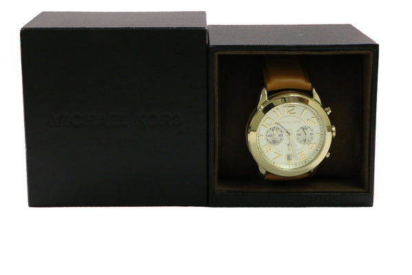 Michael Kors White Leather Two Tones Gold Silver Chronograph