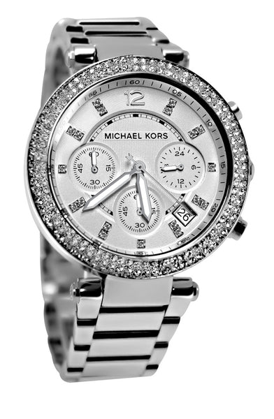 Michael Kors Silver Dial Stainless Steel Chronograph Ladies Watch