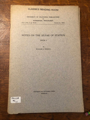 Notes on the Silvae of Statius (Books 1-5)