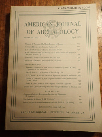 American Journal of Archaeology, Volume 76, No. 2 - April 1972