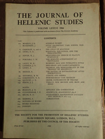The Journal of Hellenic Studies: Volume LXXXVI