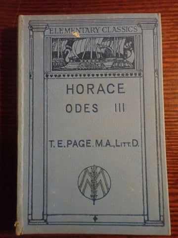Horace Odes III (Elementary Classics)